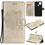 For OPPO A15 Tree & Cat Pattern Pressed Printing Horizontal Flip PU Leather Case with Holder & Card Slots & Wallet & Lanyard(Gold)