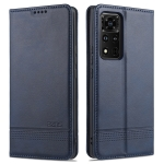 For Honor V40 5G AZNS Magnetic Calf Texture Horizontal Flip Leather Case with Card Slots & Holder & Wallet (Blue)