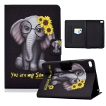 Electric Pressed TPU Colored Drawing Horizontal Flip Leather Case with Holder & Pen Slot For iPad mini 4 / mini 3 / mini 2 / mini(Flower Elephant)