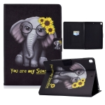 Electric Pressed TPU Colored Drawing Horizontal Flip Leather Case with Holder & Pen Slot For iPad 10.2 (2019) / (2020) & iPad Air 10.5(2019)(Flower Elephant)
