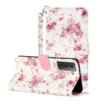 For Samsung Galaxy S21 5G 3D Pattern Horizontal Flip Leather Case with Holder & Card Slots & Wallet & Lanyard(Rose Flower)