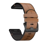 For Garmin Fenix 6X Silicone + Leather Quick Release Replacement Strap Watchband(Brown)