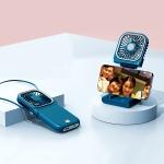 F30 Electroplating Handheld Fan Portable Desktop Folding Mute USB Hanging Neck Fan, Upgraded Version (Blue)