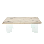 [US Warehouse] MDF Top Coffee Table with Tempered Glass Legs, Size: 43.35×23.62×14.63 inch(Wood)