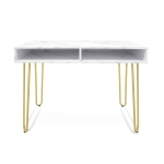 [US Warehouse] Marble Board Home Dining Table Office Computer Desk with 2 Storage Racks, Size: 103 x 75 x 55cm