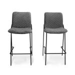 [US Warehouse] 2 PCS Household Retro Velvet Fabric Imitation Leaf Meridian Texture Dining Chair, Size: 110 x 58 x 55cm(Grey)