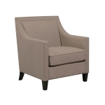 [US Warehouse] 2 in 1 Rivet Decorated Sponge Linen Fabric Single Sofa Chair + Footstool Set, Chair Size: 36 x 31 x 29 inch(Brown)