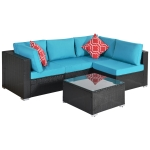 [US Warehouse] 17 in 1 Outdoor Rattan Sectional Cushioned Free Combination Four-seat Sofa + CoffeeTable + 2 Pillows Furniture Set(Blue)