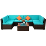 [US Warehouse] 23 in 1 Outdoor Rattan Sectional Cushioned Free Combination Six-seat Sofa + CoffeeTable + 2 Pillows Furniture Set(Blue)