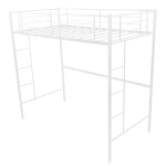 [US Warehouse] Household Loft Twin Metal Pipe Bed Frame with Two-side Ladders (White)