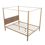 [US Warehouse] Household Queen Canopy Metal Four-poster Bed Frame
