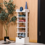 [US Warehouse] Modern Design Multi-layer Wooden Shoes Racks Storage Stand (White)