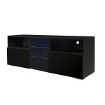 [US Warehouse] Simpleness Creative Furniture High-Gloss TV Cabinet with LED Lights, Size: 47.2×13.8×17.7 inch(Black)