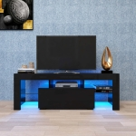 [US Warehouse] Simpleness Creative Furniture High-Gloss TV Cabinet with LED RGB Lights, Size: 51.2×13.8×17.7 inch(Black+MDF)
