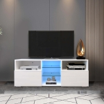 [US Warehouse] Simpleness Creative Furniture High-Gloss TV Cabinet with LED RGB Lights, Size: 47.2×13.8×17.7 inch(White)