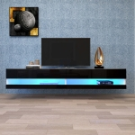 [US Warehouse] Simpleness Creative Furniture High-Gloss Wall-mounted TV Cabinet with LED Lights, Size: 70.9×16.5×11.8 inch(Black+MDF)