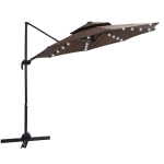 [US Warehouse] 10ft 360-degree Rotating Outdoor Cantilever Bias Hanging Double-layer Sun Umbrella with Solar LED Lights(Brown)