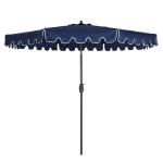 [US Warehouse] 9ft Outdoor Waterproof Sun Umbrella Garden Beach Sun Protection Center Pillar Parasol with Tilt Button  and Crank Lift Function(Blue)