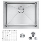 [US Warehouse] Stainless Steel Single Bowl Kitchen Sink, Size: 23x18x9 inch