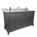 [US Warehouse] Engineered Stone Marble Color Bathroom Vanity with Double Rectangle Undermount Ceramic Sink & Single Faucet Hole & Back Splash, Size: 61 x 22 inch
