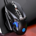 YINDIAO G10 7200DPI 7-modes Adjustable 7-keys RGB Light Wired Metal Mechanical Hard Core Macro Mouse, Style: Audio Version (Black)