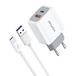 awei PD4 20W PD Type-C + QC 3.0 USB Interface Fast Charging Travel Charger with Data Cable, EU Plug