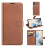 For vivo X60 Retro Calf Pattern Buckle Horizontal Flip Leather Case with Holder & Card Slots & Wallet(Light Brown)