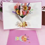 2 PCS Mother Day Bouquet Greeting Card 3D Stereo Blessing And Thanksgiving Card