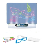 3D Fluorescent Drawing Board Magic Luminous Three-Dimensional Writing Board Graffiti Board Lighting Puzzle Children Drawing Board,Style: Medium Drawing Board (Dinosaur Version)