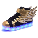 USB Charging Wings Colorful Luminous Shoes Flash Casual Kids Shoes, Size: 28(Black Gold)