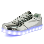 Gold And Silver Colorful Light Shoes LED Light-Up Shoes, Size: 45(Low-cut Silver)