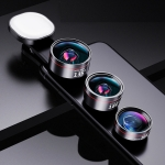 Wide Angle + Macro + Fisheye+ Fill Light Mobile Phone Lens Professional Shooting External HD Camera Set