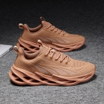 Breathable Fly Woven Mesh Shoes Men Casual Sports Running Shoes, Size: 45(Brown)