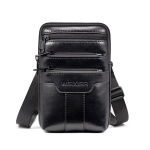 WEIXIER 8612 Men Shoulder Bag Waist Bag Credentials Storage Sports Leisure Multi-functional Mobile Phone Bag(Black)