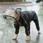 Dog Raincoat Four Foot Waterproof Transparent Reflective Poncho, Size: M(Matte Black)