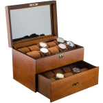 Wooden Double-Layer Watch Storage Box With Lock Jewelry Collection Display Box, Specification: 20 Epitope With Glass Sunroof