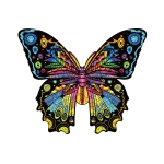 Butterfly Wooden Alien Puzzle Irregular Three-Dimensional Animal Puzzle, Size: L