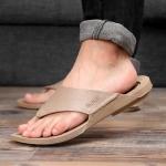 2 PCS Summer Outdoor Beach Sandals Men Wear-Resistant PVC Slippers, Size: 42(Flip Flops Khaki)