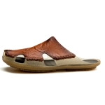 Summer Men Leather Slippers Casual Large Size Flat Beach Shoes, Size: 42(Red Brown)