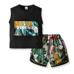 Boys Leopard Print Sleeveless + Shorts Two-piece Set (Color:Black Size:100)