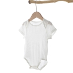 Baby Bamboo Fiber Short-sleeved Bodysuit (Color:Beige Size:73)