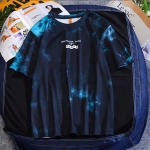 Tie-dye Plus Size Round Neck Short-sleeved Loose T-shirt (Color:Blue Size:XL)
