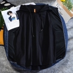Casual Sleeveless T-shirt Hooded Vest Loose Cotton Waistcoat Sports Vest (Color:Black Size:L)