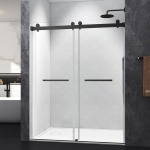 [US Warehouse] Two-sided Sliding Frameless Glass Bathroom Door with Handle, Size: 76 x (57-60) inch