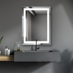 [US Warehouse] Wall-mounted Square Plane Mirror Bathroom Vanity Mirror with Anti-Fog Separately Control & Brightness Adjustment LED Light, Size: 32 x 24 x 1.2 inch