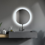 [US Warehouse] Wall-mounted Round Plane Mirror Bathroom Vanity Mirror with Anti-Fog Separately Control & Brightness Adjustment LED Light, Size: 24 x 24 x 1.1 inch