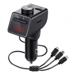 Q18S Multifunctional Car Dual USB Charger MP3 Music Player Bluetooth FM Transmitter with 3 in 1 Cable(Black)