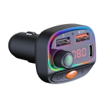 C15 Multifunctional Car Dual 3.1A+Type-C USB Charger Bluetooth FM Transmitter with Atmosphere Light