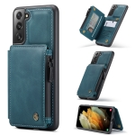 For Samsung Galaxy S21 5G CaseMe C20 Multifunctional PC + TPU Protective Case with Holder & Card Slot & Wallet(Blue)