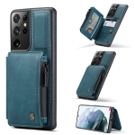 For Samsung Galaxy S21 Ultra 5G CaseMe C20 Multifunctional PC + TPU Protective Case with Holder & Card Slot & Wallet(Blue)